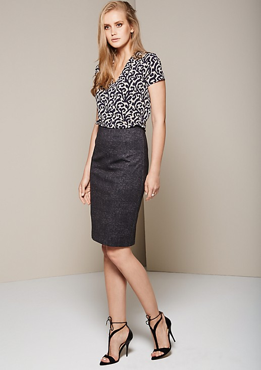 Elegant business skirt with a mottled finish from s.Oliver