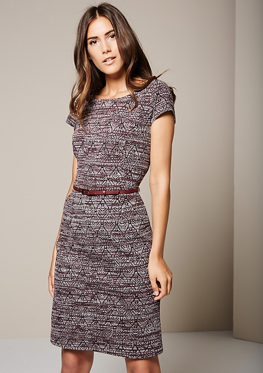 Elegant dress with an attractive jacquard pattern from s.Oliver