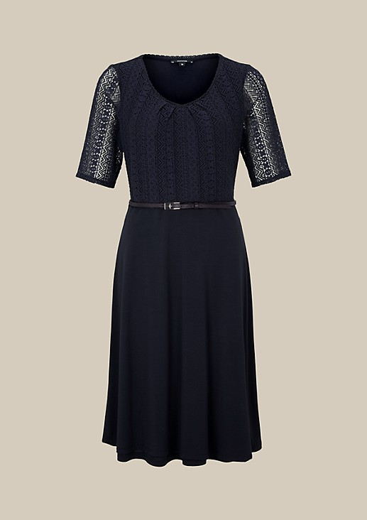 Fine short sleeve dress with delicate lace trimming from s.Oliver