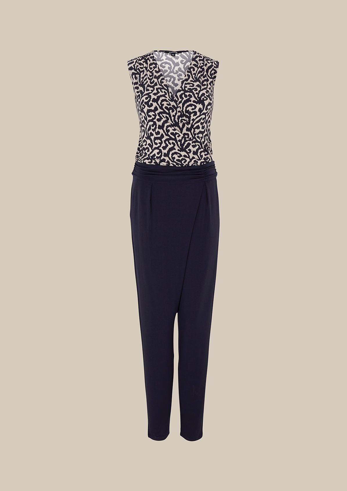 Elegant jersey jumpsuit with a fine printed pattern from s.Oliver