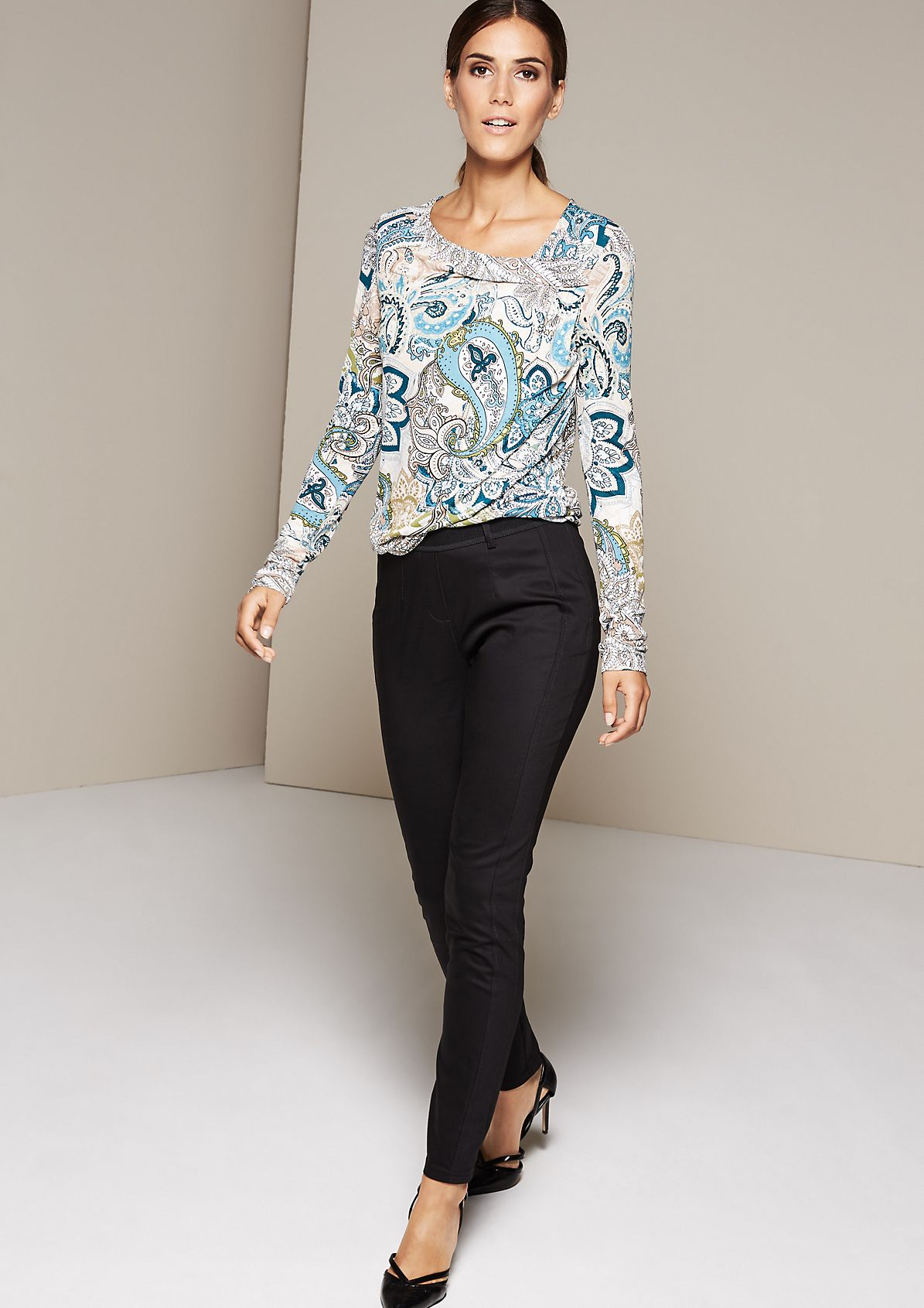 Lightweight long sleeve top with a sophisticated all-over pattern from s.Oliver
