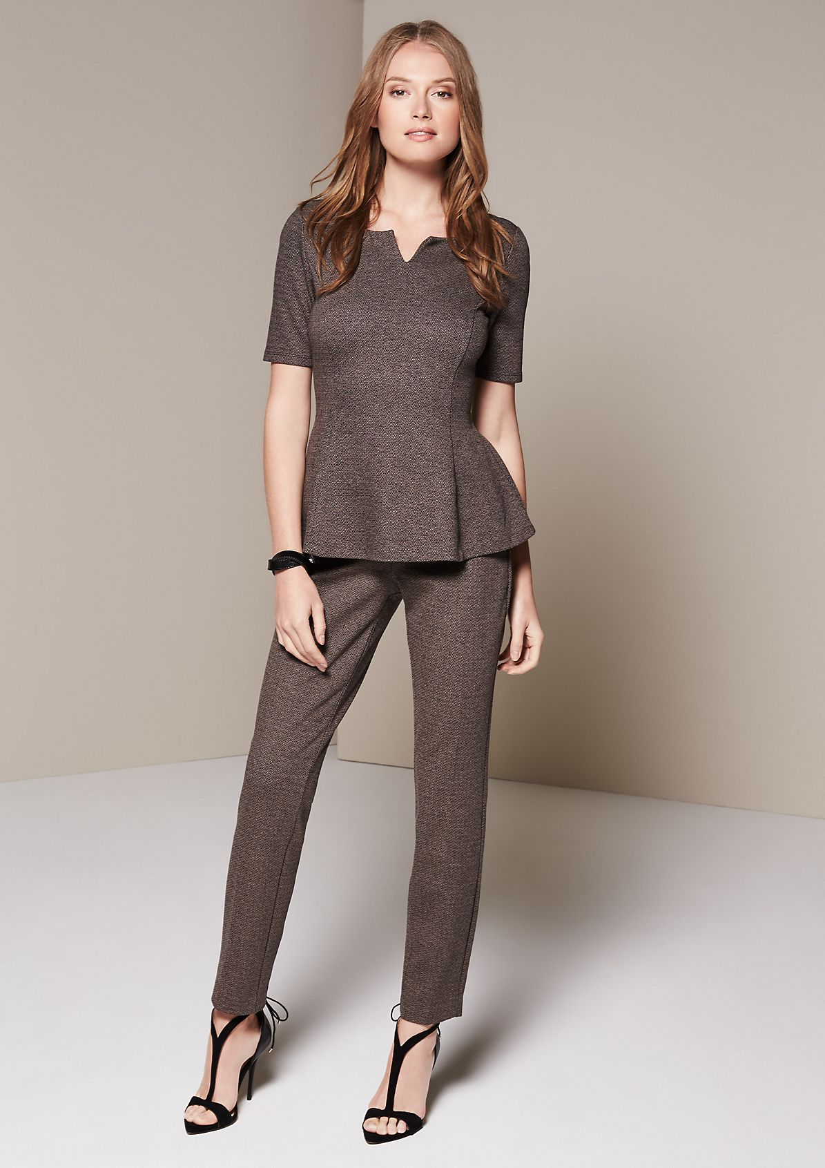 Extravagant short sleeve top in a tweed look from s.Oliver