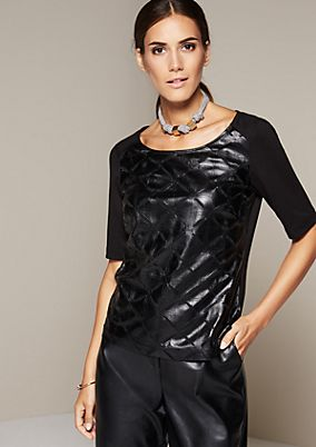 Glamorous short sleeve top with an elegant imitation leather pattern from s.Oliver