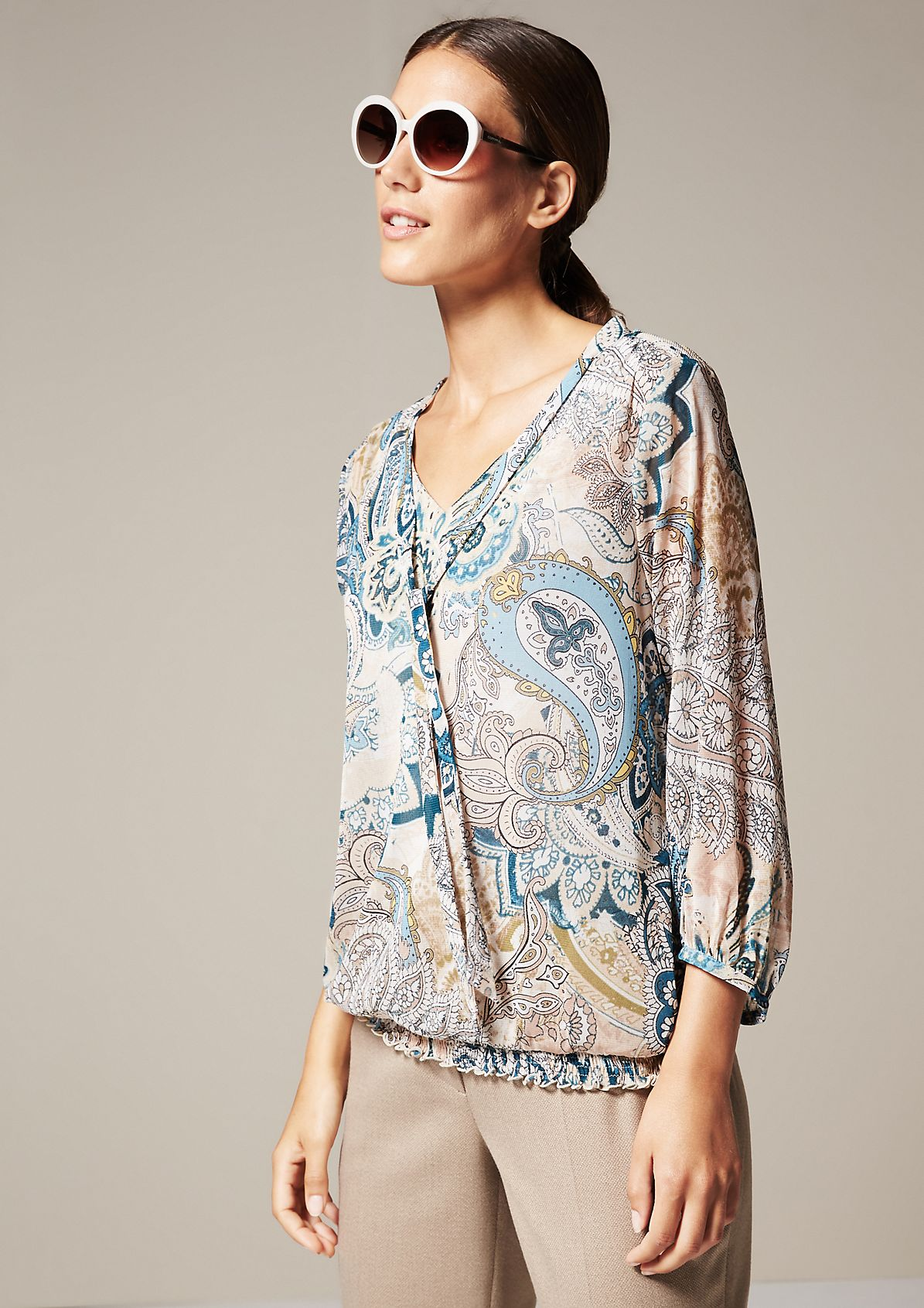 Delicate mesh top with a beautiful all-over print from s.Oliver