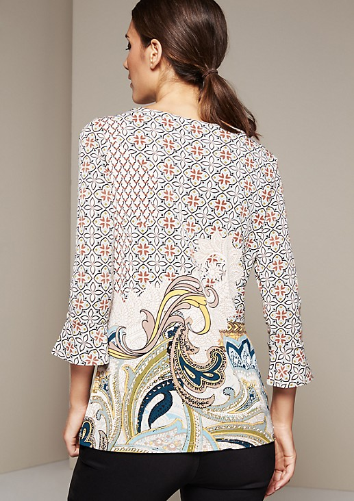 Lightweight top in an attractive mix of patterns with 3/4-length sleeves from s.Oliver