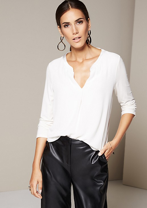 Smart top in a mix of materials with 3/4-length sleeves from s.Oliver
