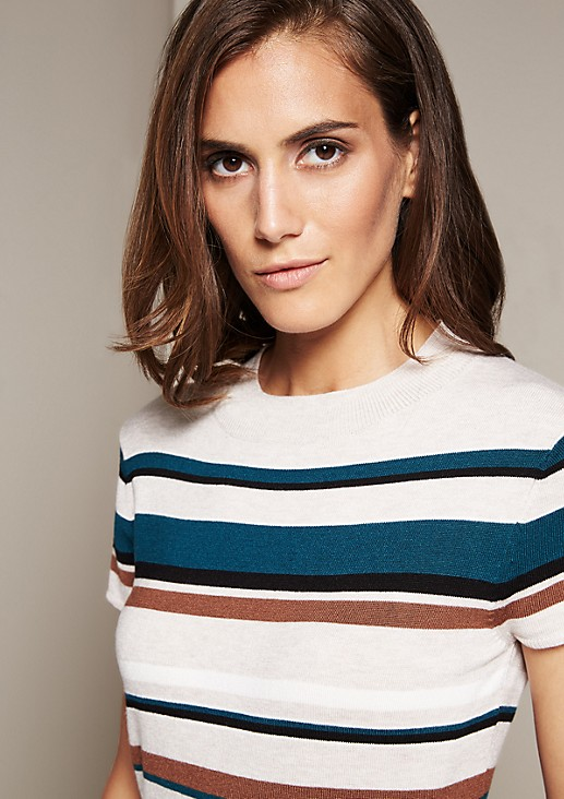Soft knitted jumper with short arms and a striped pattern from s.Oliver