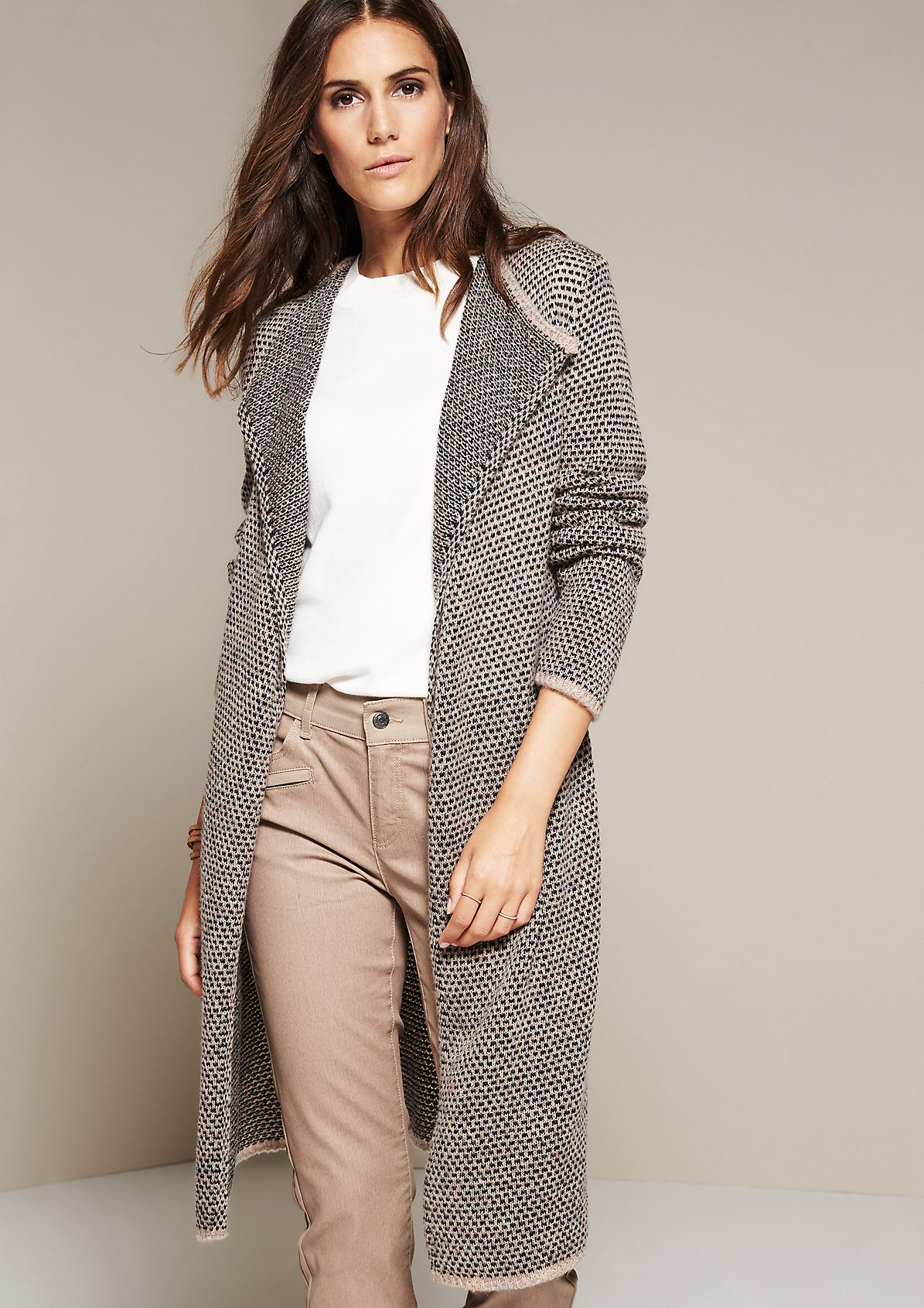 Casual long cardigan with a sophisticated pattern from s.Oliver