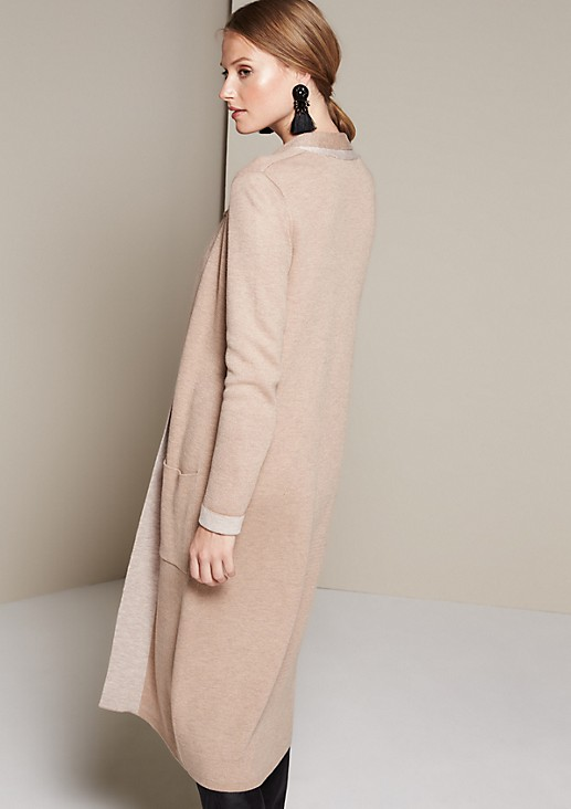 Casual long cardigan with a shawl collar from s.Oliver