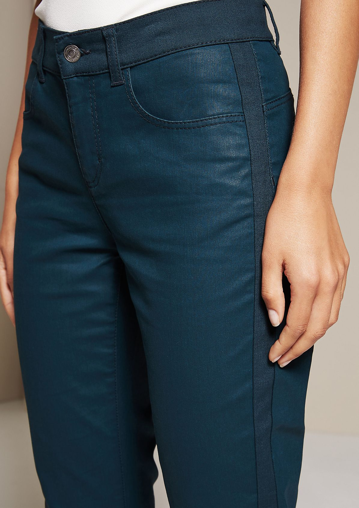 Relaxed casual trousers with a coating from s.Oliver