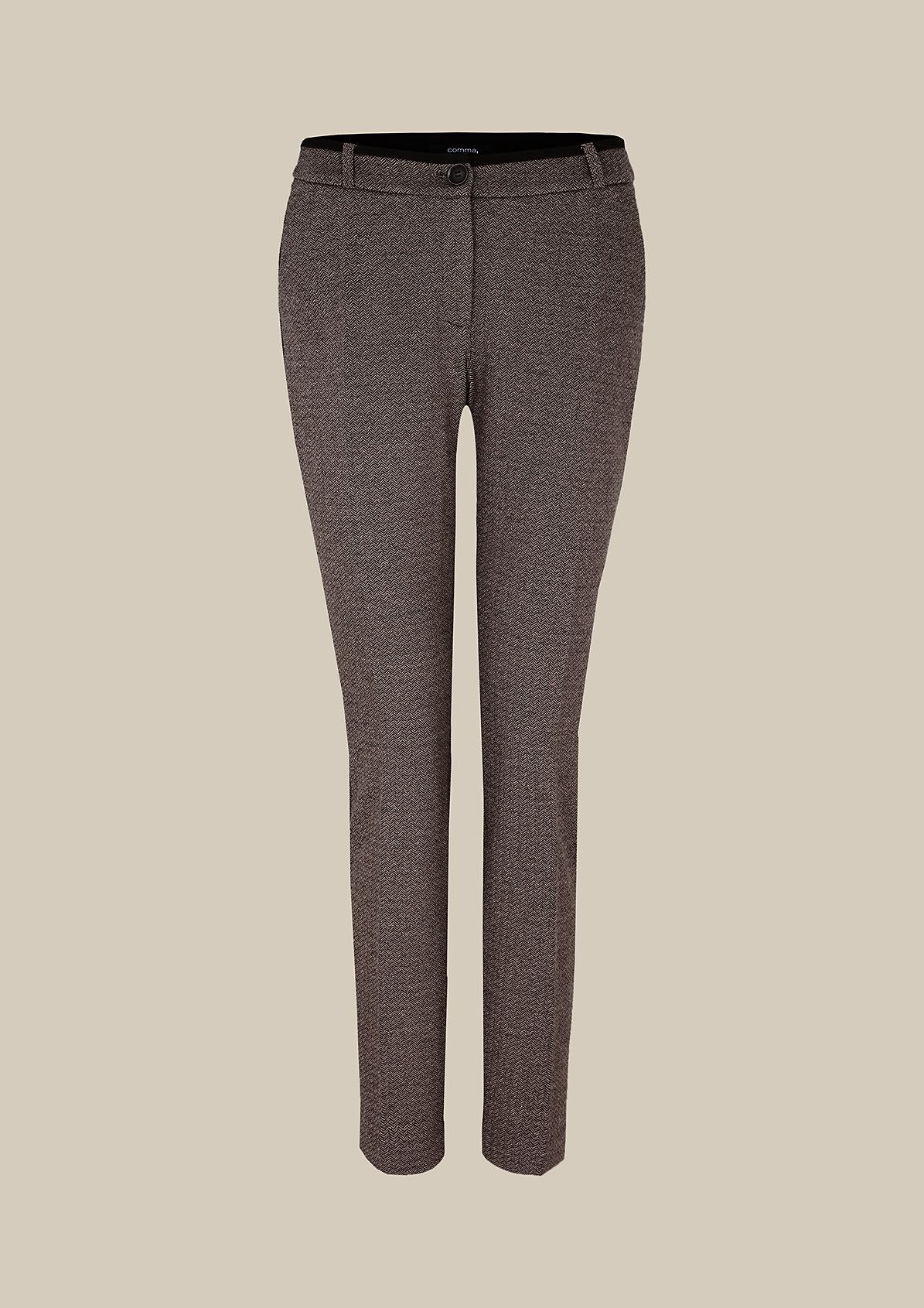 Elegant business trousers with a decorative herringbone pattern from s.Oliver