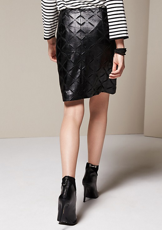 Short imitation leather skirt with an exciting minimal openwork pattern from s.Oliver
