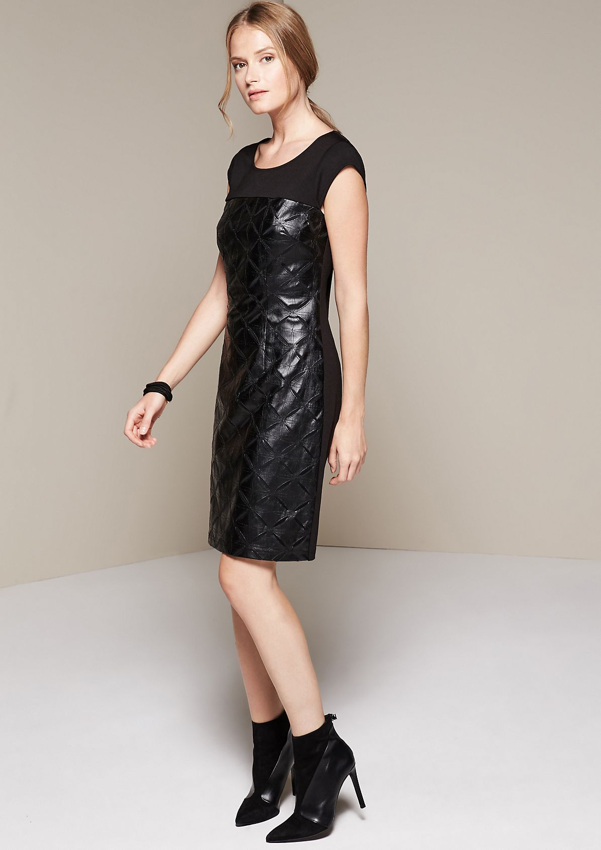 Glamorous imitation leather evening dress with a sophisticated pattern from s.Oliver