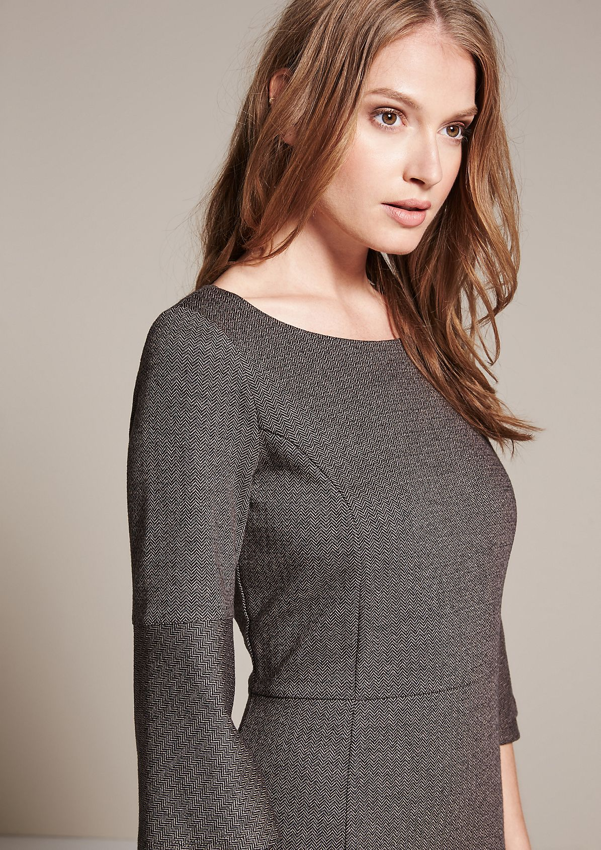 Elegant dress with 3/4-length sleeves in a tweed look from s.Oliver