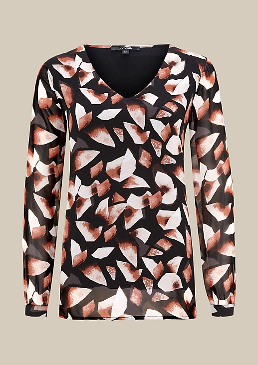 Delicate crêpe tunic with a decorative all-over pattern from s.Oliver