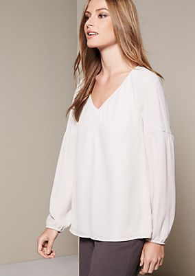 Delicate chiffon blouse with a sophisticated pucker from s.Oliver