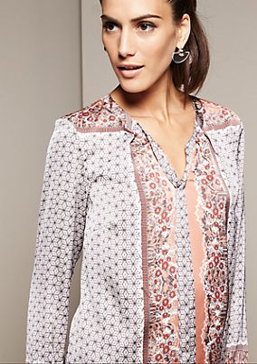 Elegant satin blouse with an elaborate, all-over pattern from s.Oliver