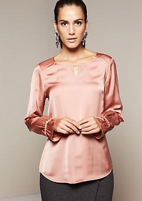 Satin blouse with a matte sheen and fine details from s.Oliver