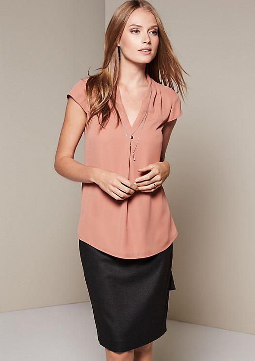 Lightweight short sleeve blouse with sophisticated details from s.Oliver