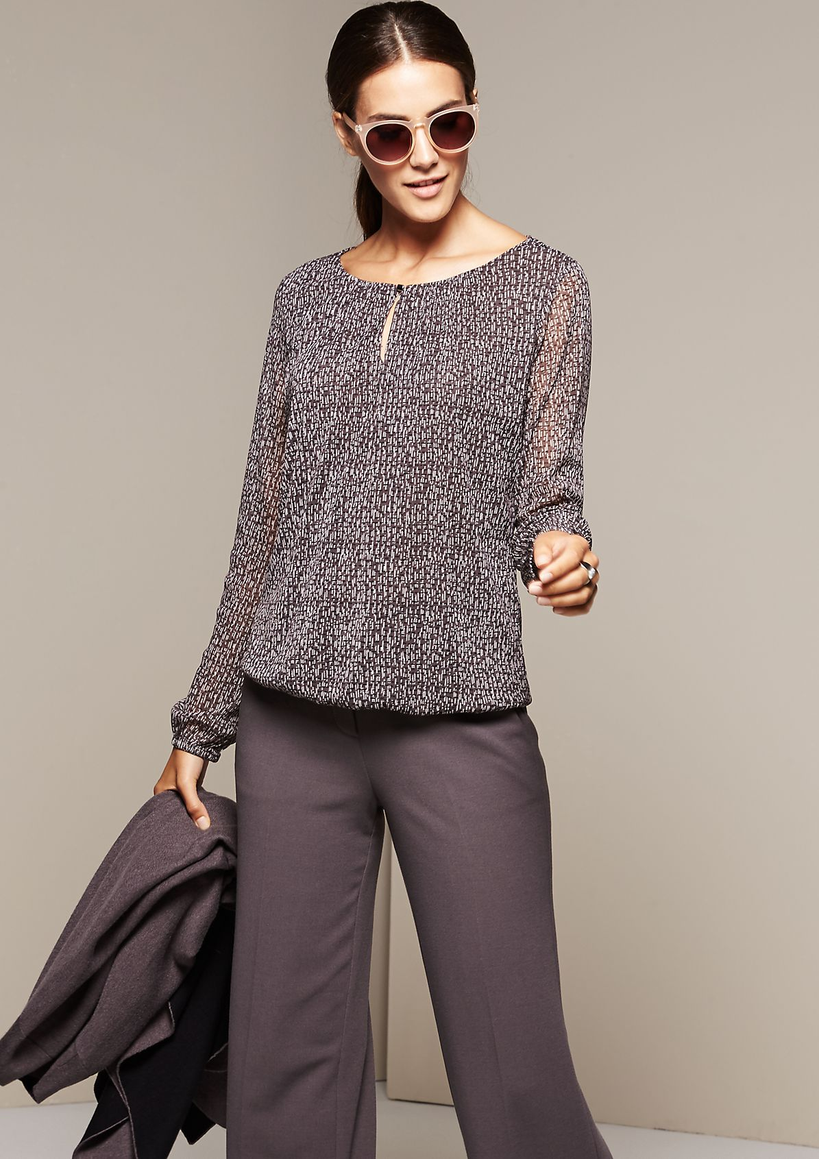 Delicate long sleeve mesh top with a beautiful all-over print from s.Oliver