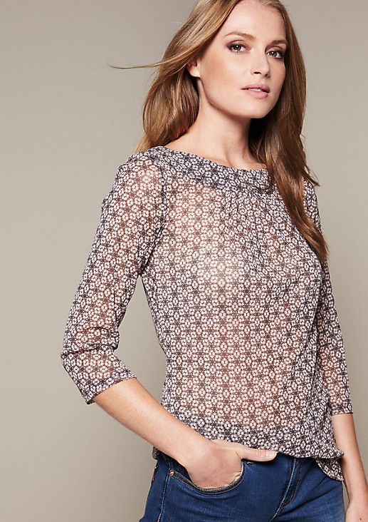 Delicate mesh top with a colourful all-over print from s.Oliver
