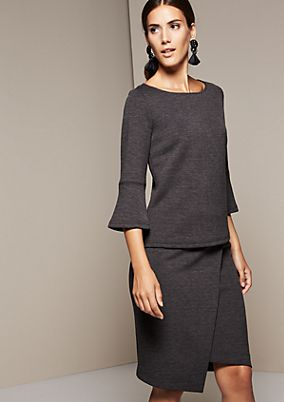 Elegant melange top with 3/4-length sleeves from s.Oliver