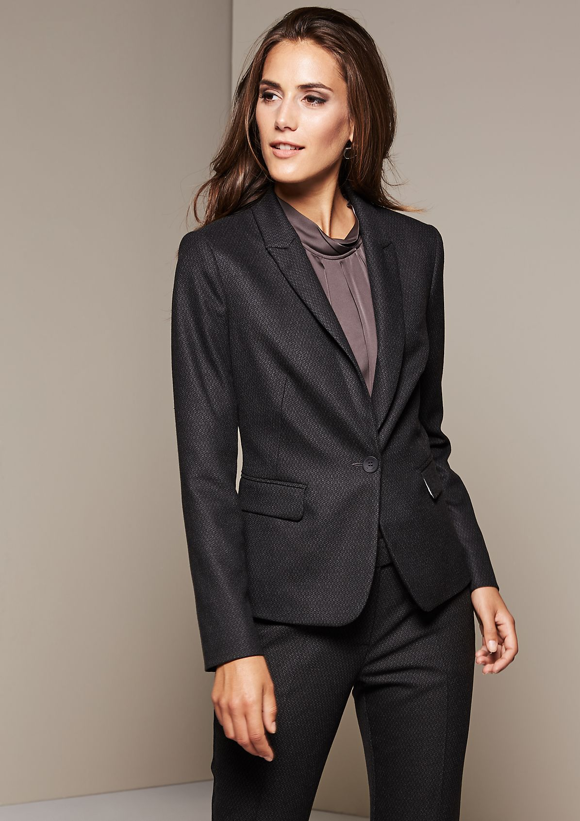 Elegant blazer with a sophisticated minimal pattern from s.Oliver