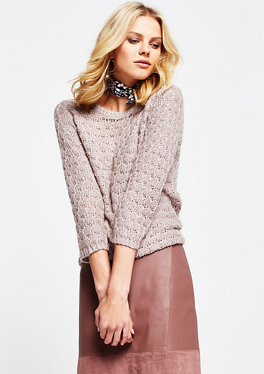 Beautiful knitted jumper with 3/4-length sleeves and glittery accent yarn from s.Oliver
