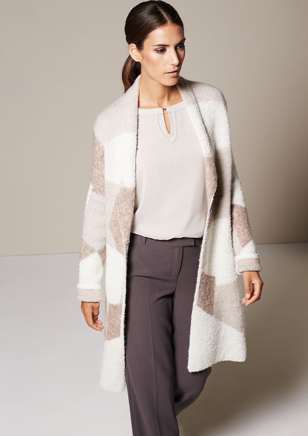 Warm long cardigan with an abstract all-over pattern from s.Oliver