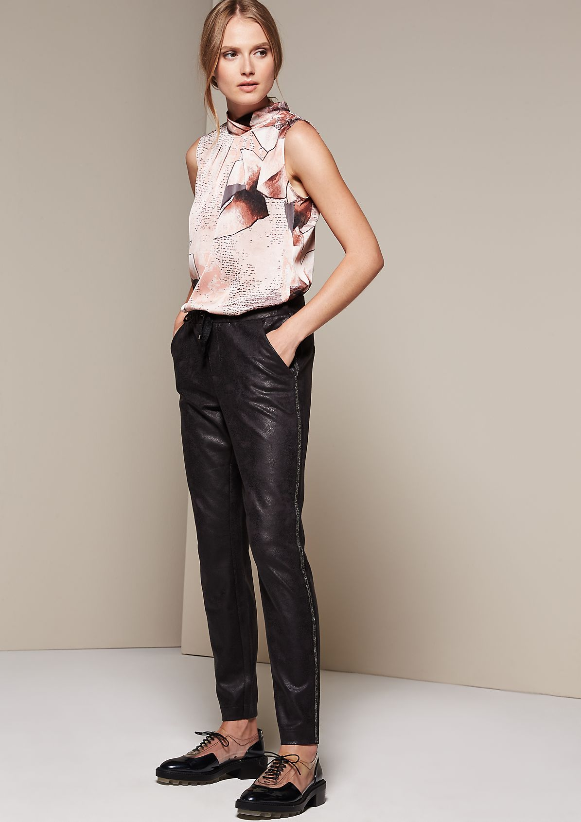 Casual lounge pants in elegant faux leather from s.Oliver