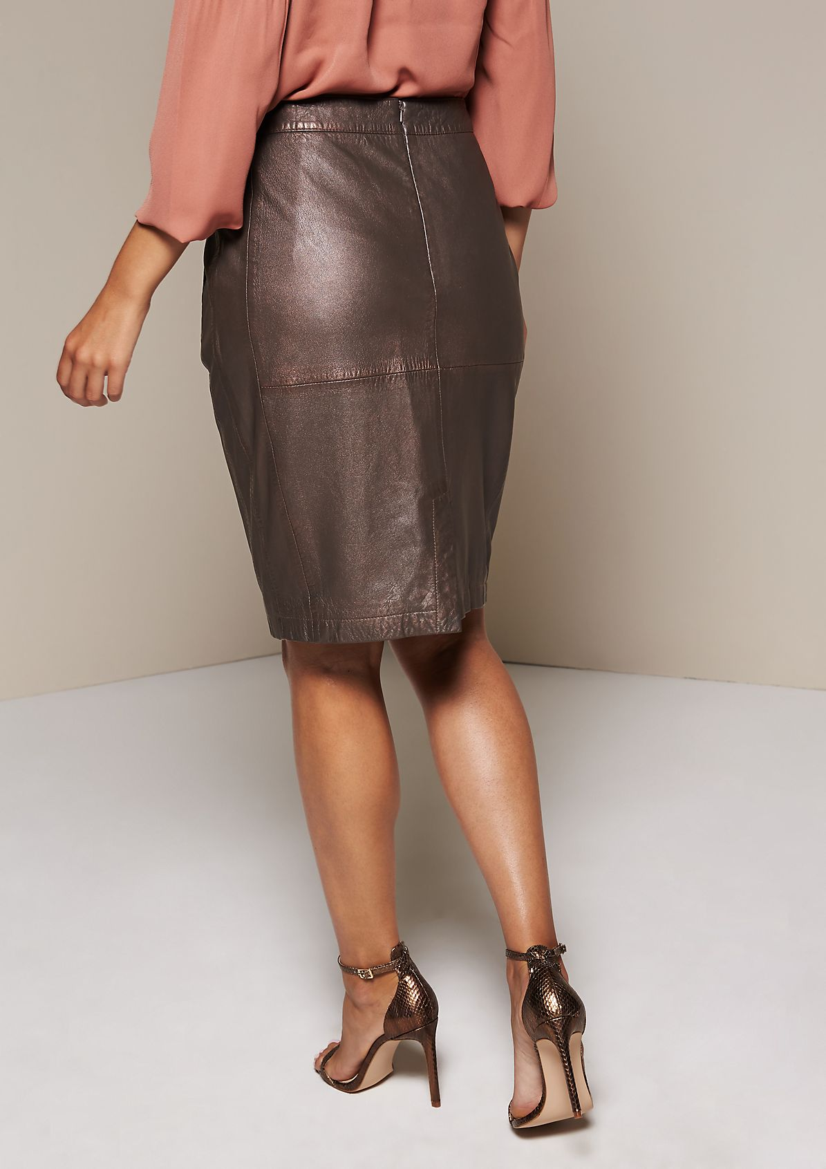 Extravagant leather skirt in soft sheep leather from s.Oliver