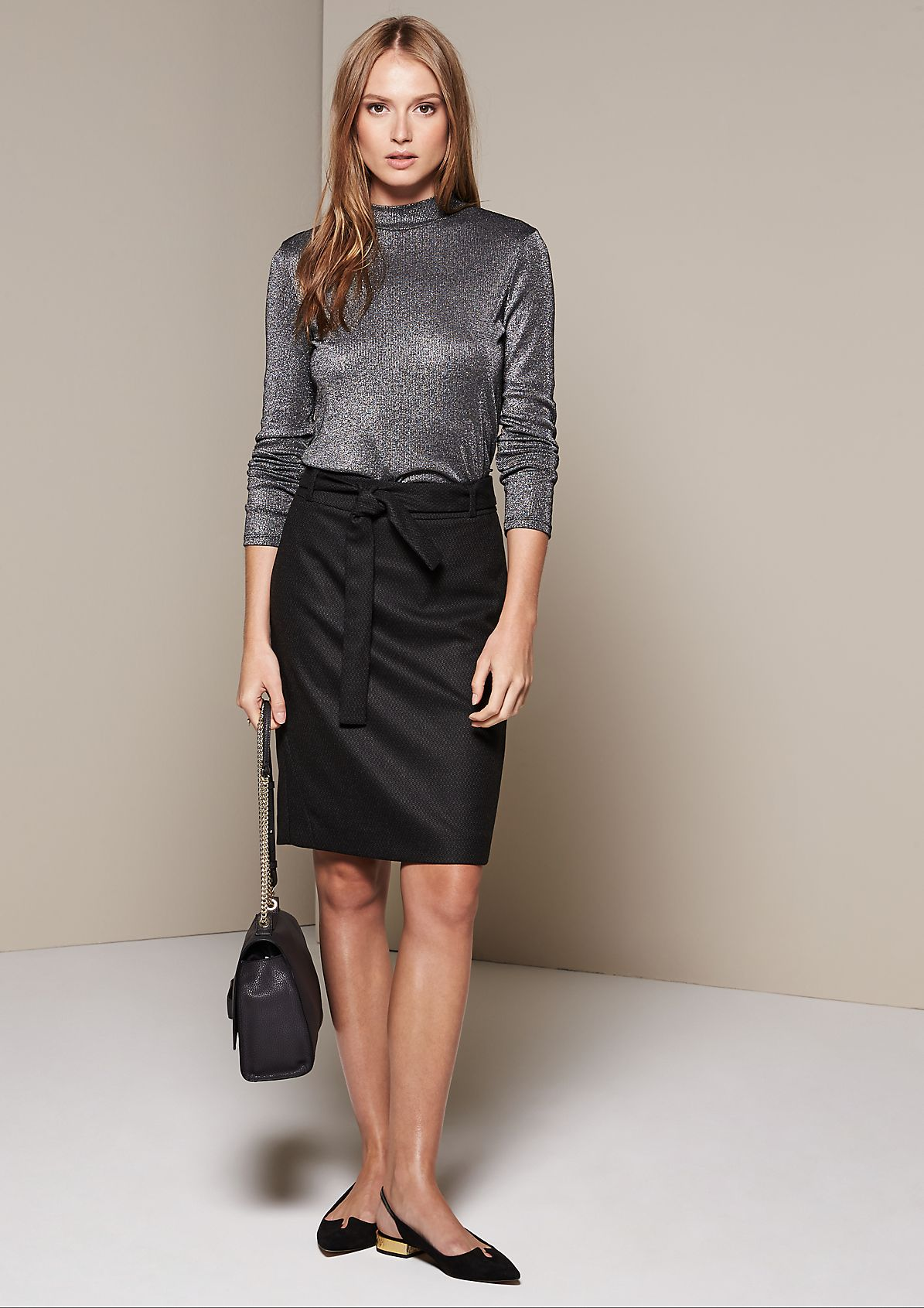 Exciting business skirt with a fine minimal pattern from s.Oliver