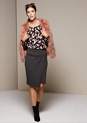 Fine business skirt in a wrap-over look from s.Oliver