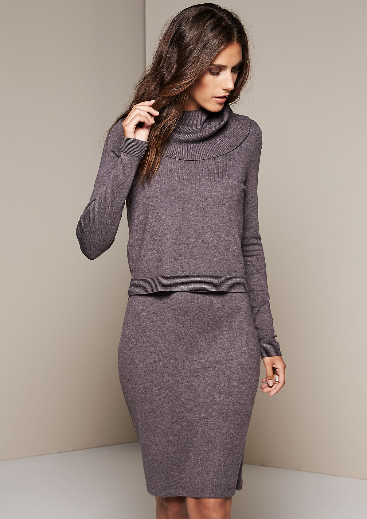 Warm knitted dress in a layered look from s.Oliver