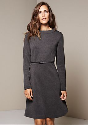Elegant business dress with a narrow belt from s.Oliver