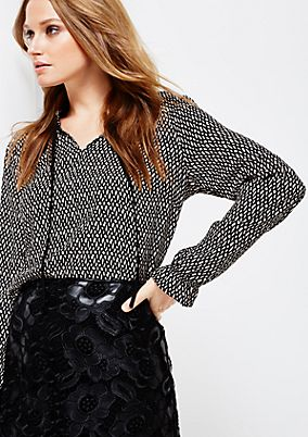 Casual crêpe blouse with a beautifully arranged all-over pattern from s.Oliver