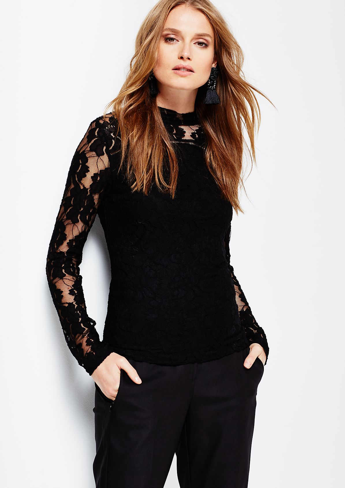 Elegant long sleeve top in delicate lace from s.Oliver