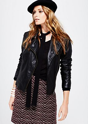 Sporty leather jacket in a trendy biker look from s.Oliver