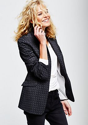 Extravagant long blazer with a beautiful all-over pattern from s.Oliver