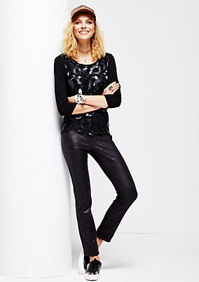 Extravagant, finely embossed imitation leather trousers from s.Oliver
