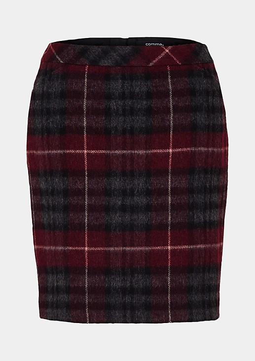 Fine wool skirt with a check pattern from s.Oliver