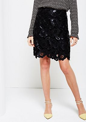 Glamorous imitation leather skirt with an elaborate pattern from s.Oliver