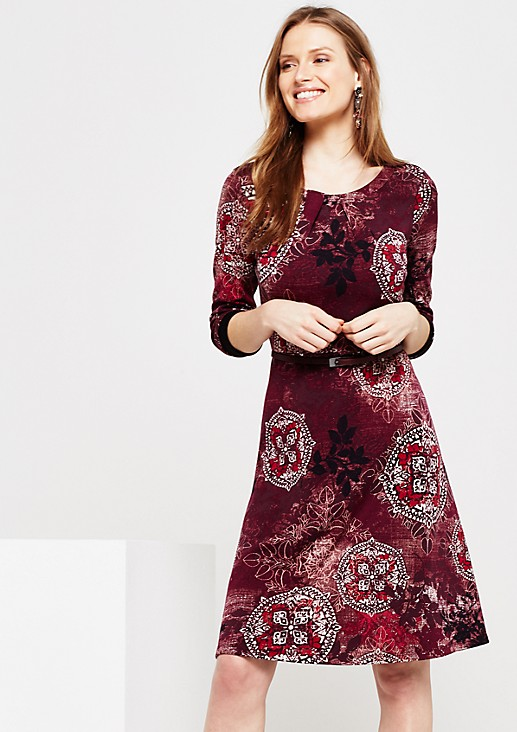 Fine long sleeve dress with a colourful all-over print from s.Oliver