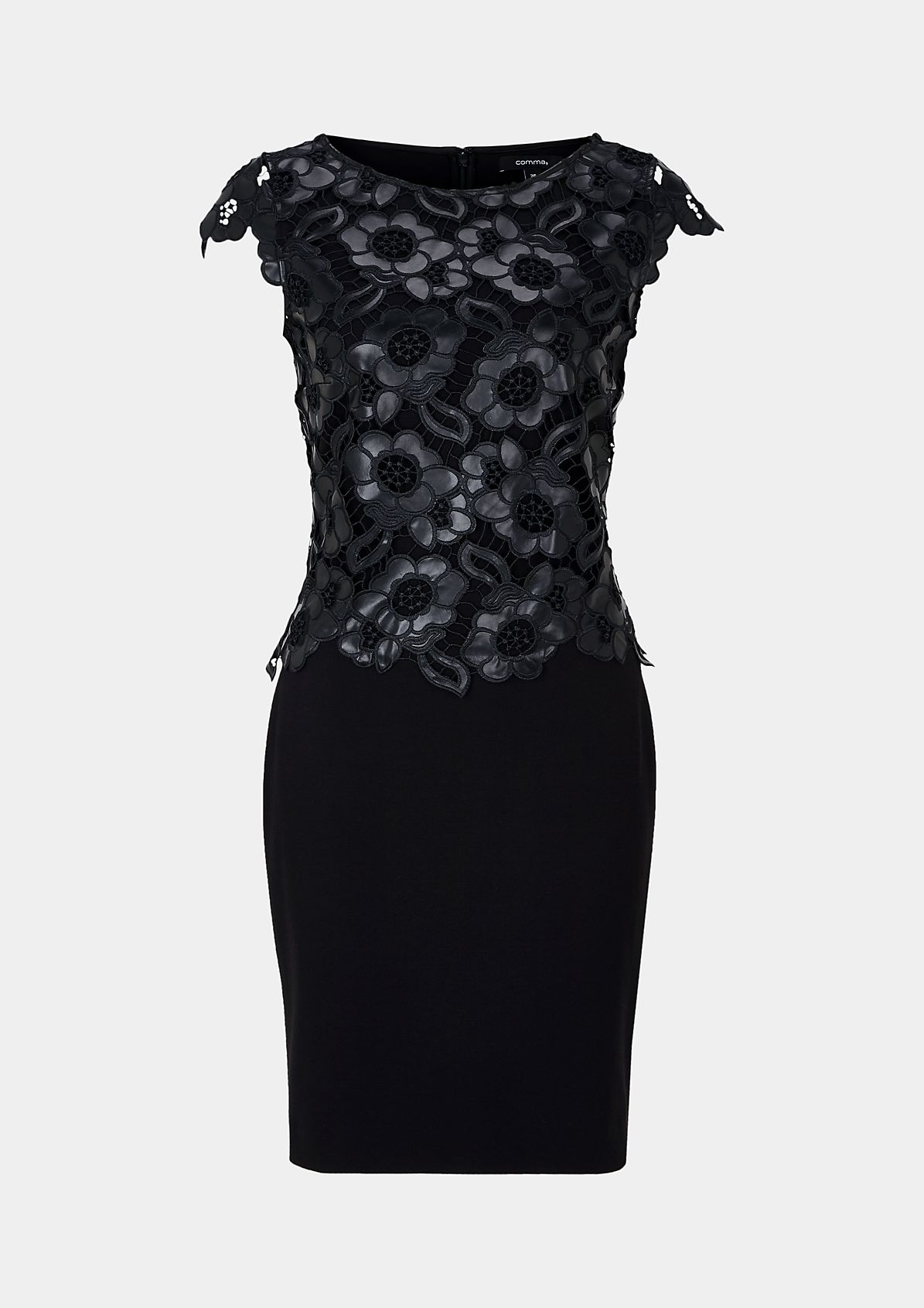 Feminine evening dress with imitation leather lace decorations from s.Oliver