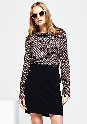 Casual long sleeve crêpe blouse with a decorative minimalist print from s.Oliver