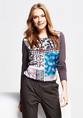 Casual jersey long sleeve top with a colourful front print from s.Oliver