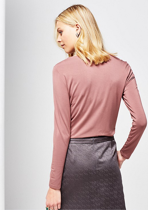 Fine long sleeve jersey top in a mix of fabrics from s.Oliver