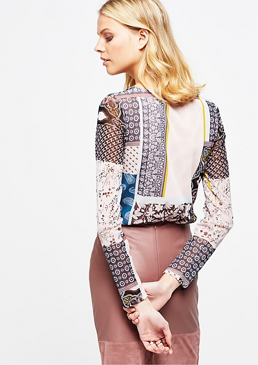 Delicate mesh long sleeve top with a colourful all-over print from s.Oliver