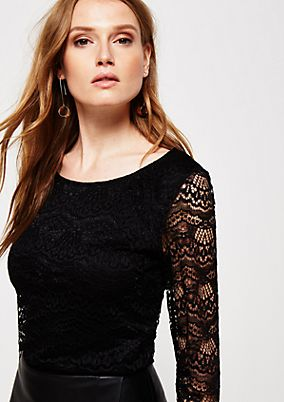 Extravagant long sleeve top in elegant lace from s.Oliver