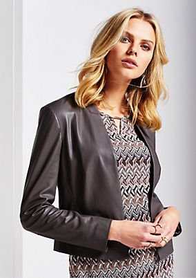Elegant short blazer in soft imitation leather from s.Oliver